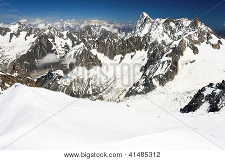 Mountain landscape in Haute Savoie - seen from Aiguiile du Midi, France, Europe