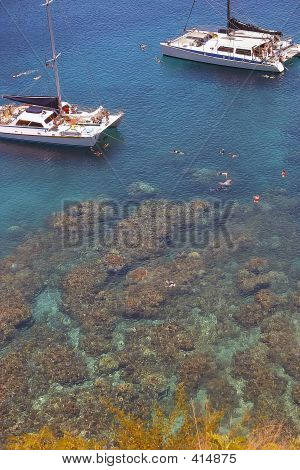 Secluded Maui Bay With Snorkelers