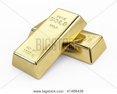 Gold bars isolated on white