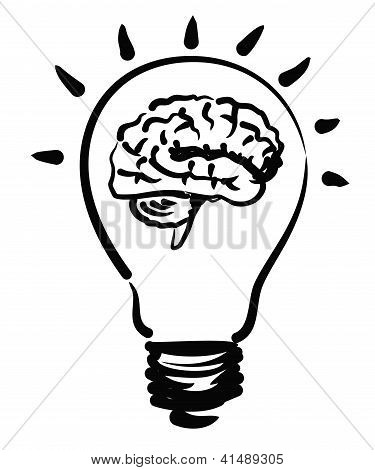illustration of brain bulb