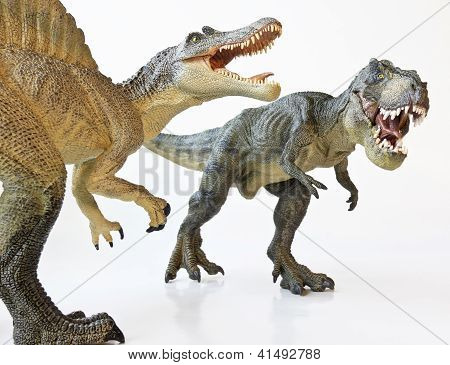 A Spinosaurus Faces Off With A Tyrannosaurus Rex