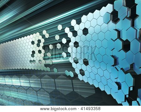 Hexagon shapes forming a wall on a high technology background. Digital illustration.