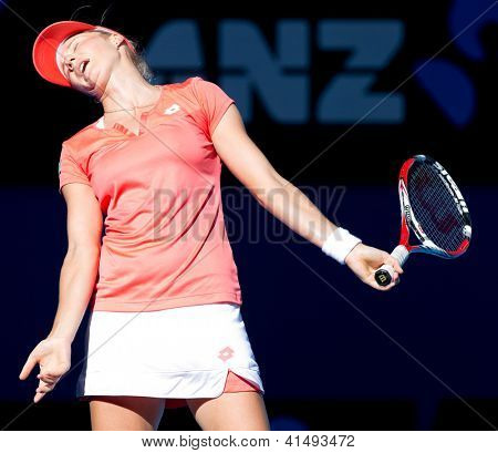 MELBOURNE - JANUARY 22: Ekaterina Makarova of Russia in her quarter final loss to Maria Sharapova of Russia at the 2013 Australian Open on January 22, 2013 in Melbourne, Australia.