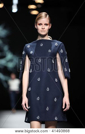 ZAGREB, CROATIA - OCTOBER 18: Fashion model wears clothes made by Sonja Lamut at 'Croaporter' fashion show, on October 18, 2012 in Zagreb, Croatia.