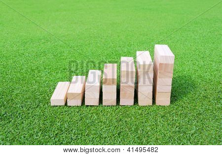 Wood Graph On The Green Field