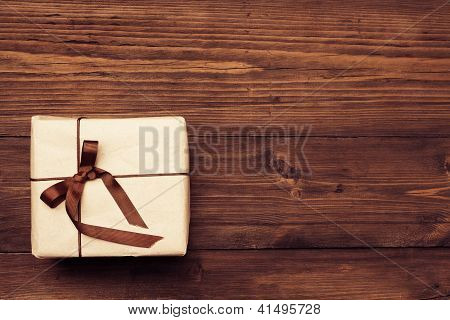 Vintage Gift Box Over Wooden Background