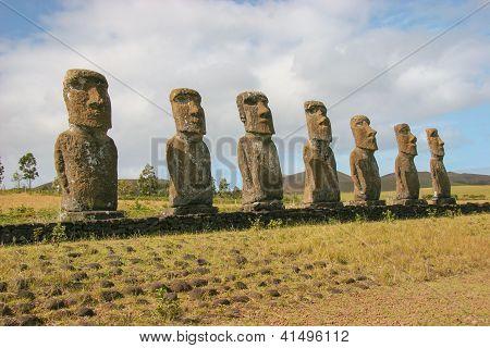 Several moai taken at Ahu Akivi on Easter Island