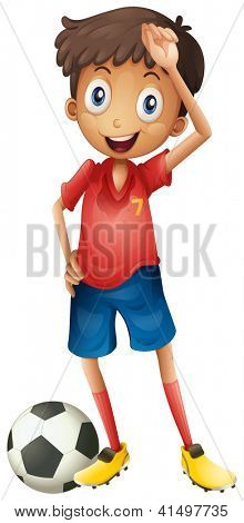 Illustration of a smiling boy and a football on a white background