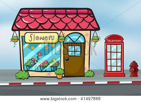 Illustration of a flower shop and a callbox near the street