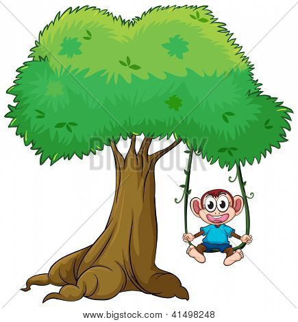 Illustration of monkey playing swing on a tree