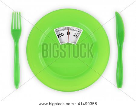 Diet  recipe. Green plate with weight scale