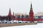 Постер, плакат: Вид Кремль зимой снег день