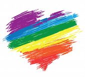 image of gay flag  - Rainbow heart - JPG