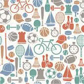 stock photo of ping pong  - seamless pattern with sport icons - JPG