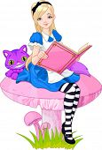 Girl dressed up like Alice in wonderland,  holding book