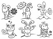 Cartoon Animals With Flowers poster