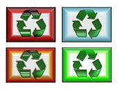 Four Recycle Symbols On White Background