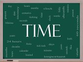 stock photo of tick tock  - Time Word Cloud Concept on a Blackboard with great terms such as day hours minutes clock date seconds and more - JPG