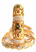 picture of dowry  - A gold bracelet with small natural Gulf pearls and inlaid with enamel in the Arab style - JPG
