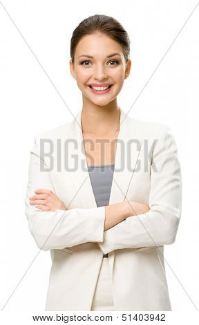 Half-length portrait of business woman with arms crossed, isolated on white. Concept of leadership and success