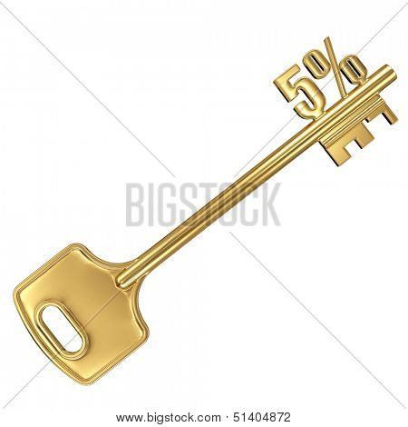 3d golden shiny key with interest rate 5% percent on it