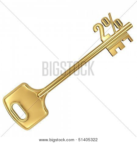 3d golden shiny key with interest rate 2% percent on it