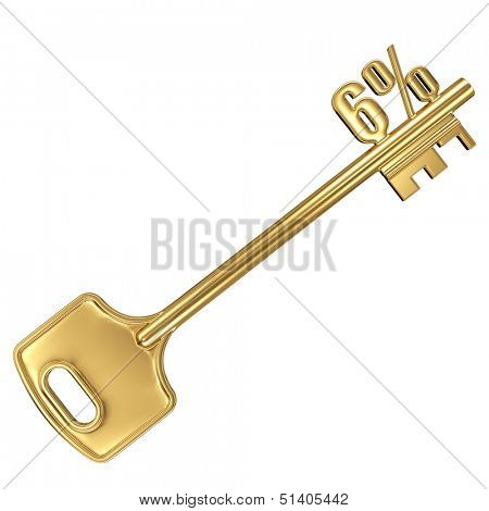 3d golden shiny key with interest rate 6% percent on it