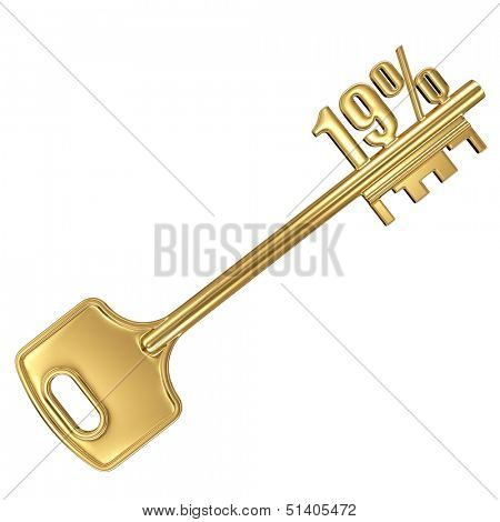 3d golden shiny key with interest rate 19% percent on it