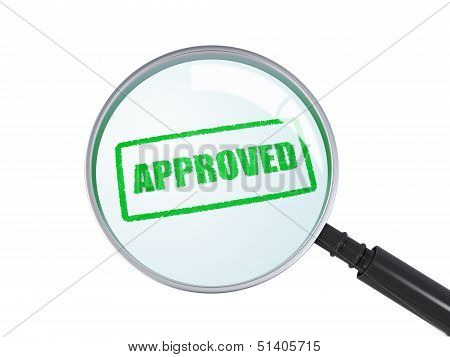 Magnifying Glass With Approved Stamp