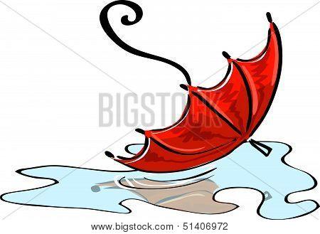Vector. Red Umbrella Fallen Into A Puddle