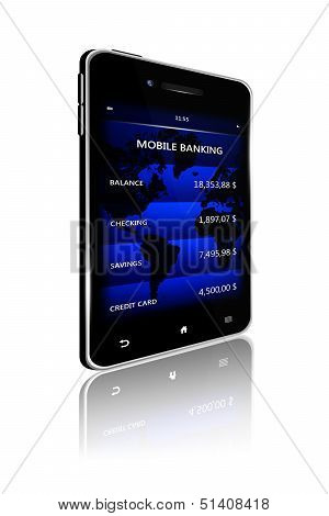 Mobile Phone With Bank Account Screen Over White