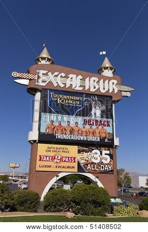 Excalibur Marquee At Sunrise In Las Vegas, Nv On April 19, 2013