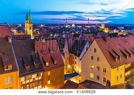 Evening panorama of Nuremberg, Germany