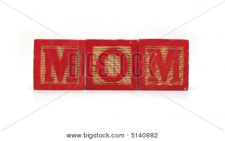 "Isolated Wood Blocks ""mom"""