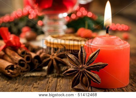 Christmas Background : Candle And Spices