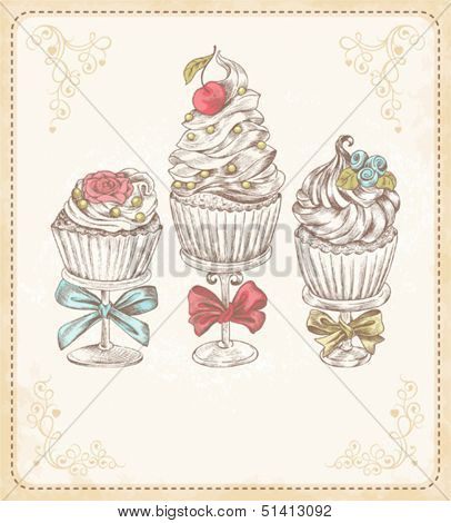 Vector card with cakes in vintage style, with free place for your text.