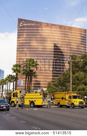 An Accident Is Investigated On The Las Vegas Strip, Las Vegas, Nv On March 30, 2013