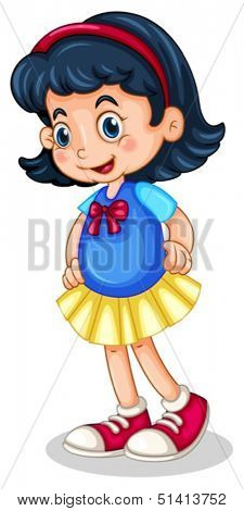 Illustration of a cute little girl with a red headband on a white background