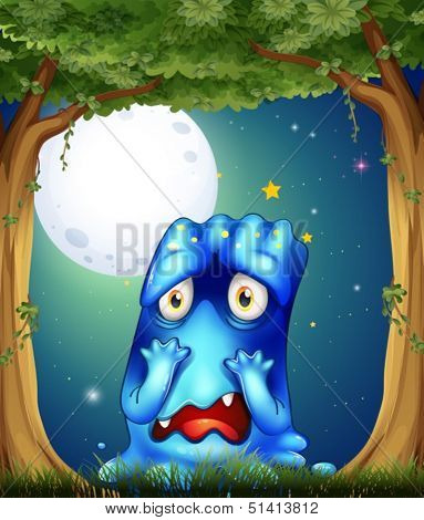 Illustration of a forest with a sad blue monster