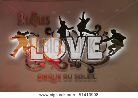 Beatles Love Sign At The Mirage In Las Vegas, Nv On August 11, 2013