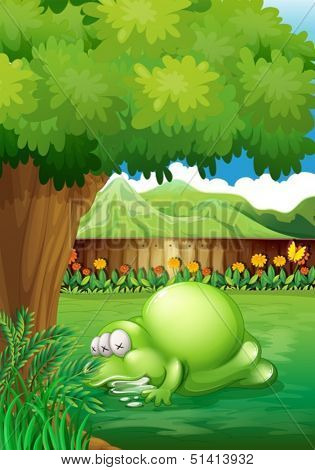 Illustration of a yard with a sleeping monster