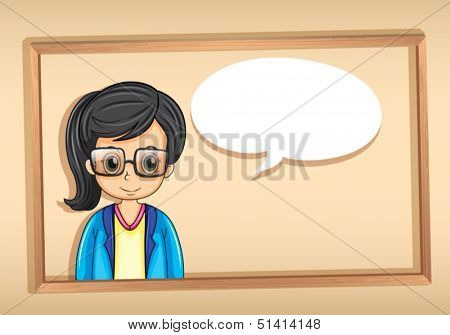 Illustration of a wooden frame with a strict businesswoman