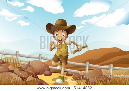 Illustration of a young explorer running with a map in his hand