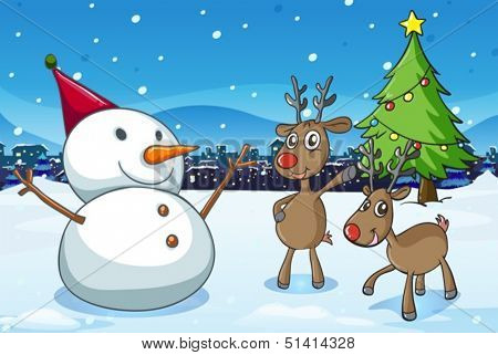 Illustration of a snowman and the reindeers near the christmas tree