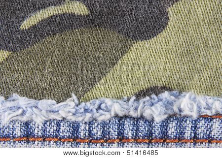 camouflage and blue jeans texture