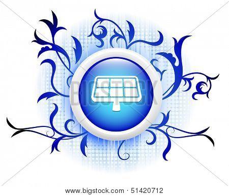 solarpanel icon on blue decorative button