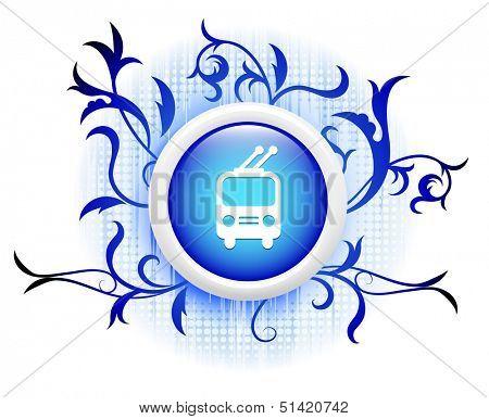 railcar icon on blue decorative button