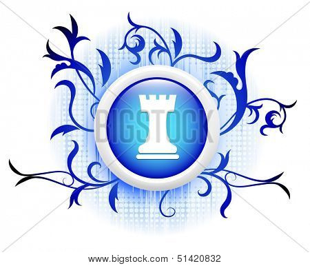 rook icon on blue decorative button