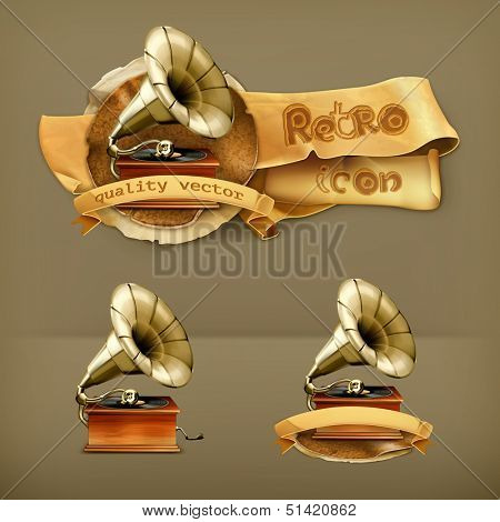 Gramophone, vector icon