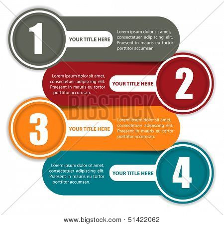 Simple vector background color scheme with four steps and place for text